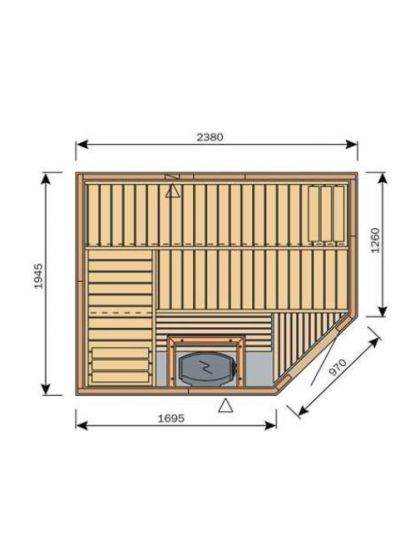 Harvia Variant S2520R Traditional Finnish Sauna (2380 x 1945 mm)