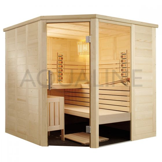 Sentiotec Alaska Corner Sauna with Dual Infrared and Traditional Heaters