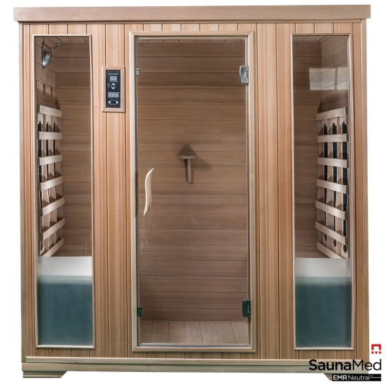 SaunaMed 4 Person Classic Hemlock FAR Infrared Sauna EMR Neutral™