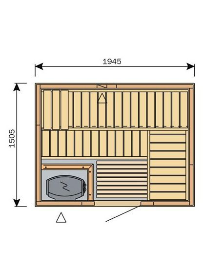 Harvia Variant S2015 Traditional Finnish Sauna (1945 x 1505 mm)