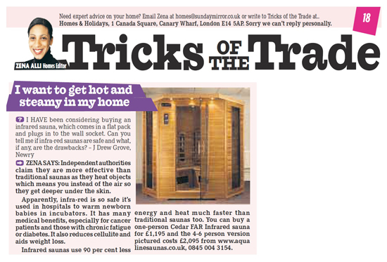 Did you see our Sauna feature in the Sunday Mirror?
